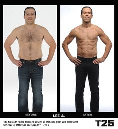 Check out Lee's transformation in just 10 weeks and 25 minutes a day with #FocusT25! Amazing!