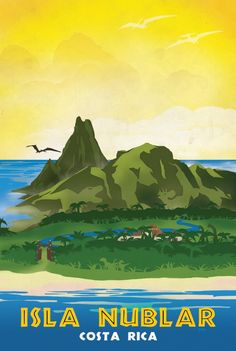 Isla Nublar Retro Jurassic Park Travel Poster Art Print by Forge22 - Art Deco…
