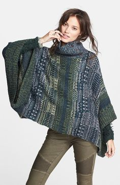Free People 'Willow' Poncho available at Fashion Design Classes, Free People Clothing, Diy Scarf, Cold Weather Fashion, Knitted Poncho, Fashion Fabric, Knitting Designs, Knitwear, Knit Crochet