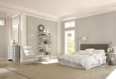 Get inspired by Glam Bedroom Design photo by Sherwin[D]Williams®. Wayfair lets you find the designer products in the photo and get ideas from thousands of other Glam Bedroom Design photos. Small Finished Basements, Small Basements, Small Basement Remodel, Basement Remodeling, Basement Plans, Basement Storage, Glam Bedroom, Bedroom Colors, Sherwin Williams Amazing Gray
