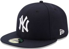 MLB New York Yankees Game AC On Field Fitted Polyester Performance Fabric Official On Field Cap worn by all Major League Players Cool Base technology wicks moisture Officially Licensed by Major League Baseball New York Yankees Game, Yankees Team, Yankees Logo, Mlb, New Era Kids, Blue Game, New Era 59fifty, New Era Cap, Fitted Caps