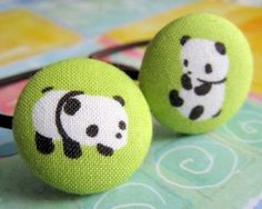 panda bears are planning a bamboo party - 2 ponytail holders