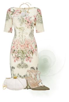 """Printed Dress & White Clutch"" by ayupsakti ❤ liked on Polyvore featuring Adrianna Papell, Valentino, Judith Leiber, Oscar de la Renta and Russell Trusso"