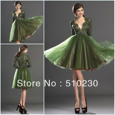 Green Long Sleeve Bridesmaid Dress | Long Lace Sleeve 2013 Tulle Knee Length Light Green Bridesmaid Dress ...