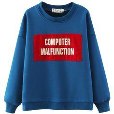 Chicnova Fashion Fleece Sweatshirt ($27) ❤ liked on Polyvore featuring tops, hoodies, sweatshirts, relaxed fit tops, sweat tops, blue sweatshirt, blue top and sweat shirts