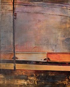 Trains on Airline  2012  mixed media on canvas  60 x 48 inches  $4000