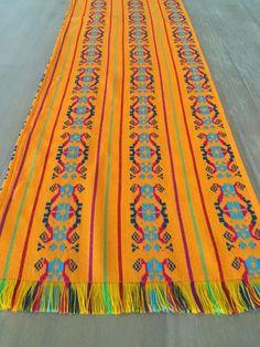Mexican table runner, custom placemats, woven napkins or tablecloth. Light orange, Fiesta Decor linens, Tribal Serape, Southwestern blanket