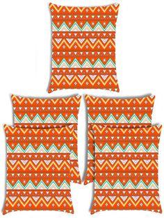 Giftwallas Zig Wave Cotton Cushion Cover  Set Of 5 Orange Colour