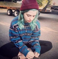 blue hair, blue jumper