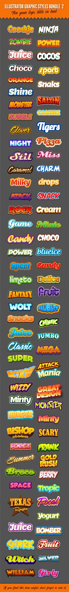 Illustrator Logo Graphic Text Styles Bundle For Adobe Illustrator #design #ai Download: http://graphicriver.net/item/illustrator-logo-graphic-styles-bundle-2/9523253?ref=ksioks