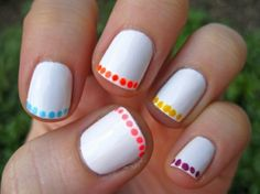 Decorating hand nails and foot nails with nail polish is known as Nail art and it is popular all over the world. Many women spend hours and hours in nail design parlors to beautify their nails. Take a look at these Easy Nail Designs for Beginners that are Simple Nail Art Designs, Short Nail Designs, Cute Nail Designs, Nail Designs For Kids, Fingernail Designs, Nail Designs Summer Easy, Easy Designs, Easy Nail Polish Designs, Colorful Nails