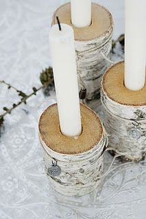 Birch candle holders--OR--the crafter in me is thinking 'Hmm--the right gift wrap and some chunky tree limbs with holes, a little jute string and white candles. Christmas Night, Christmas Candles, Christmas Holidays, Christmas Crafts, Christmas Decorations, Holiday Decor, Christmas Stockings, Deco Nature, Wood Candle Holders