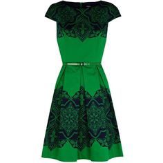 Oasis Lace tile print dress <-- great dress for balancing out a triangle shape or keeping a rectangle shape balanced. A monochromatic belt will give shape and definition to the waist.