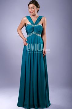 Halter Neck Teal Evening Dress | Evica