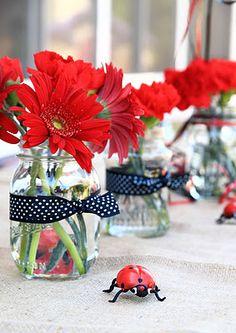 simple centerpiece - ladybug theme