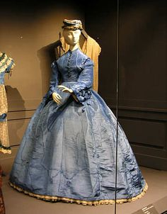 Promenade dress, probably English, ca. 1867. Silk moiré, two pieces.
