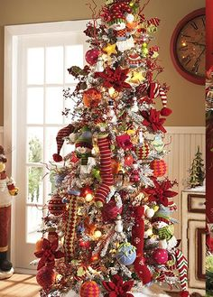 White flocked Christmas tree covered with cozy, knitted yarn ornaments, polka dot balls, stockings (wired for shaping), hats, mittens and whimsical snowmen. Knitted reindeer and sock monkeys from the Warm Wishes collection would also look great on this tree.