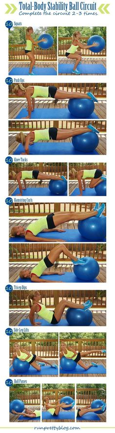 Fitness Roundup: 12 Strength and Circuit Workouts including this total body stability ball workout from RunPrettyBlog.com