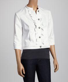 Live A Little White Ruffle Jacket by Live A Little #zulily #zulilyfinds