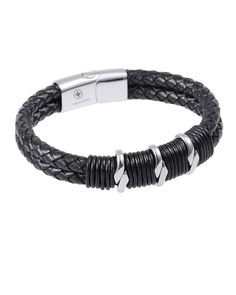 Black Nappa Braided Leather Men's Bracelet - Forziani