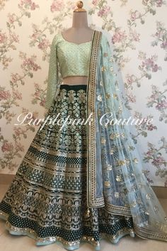 Lehenga Choli are the most preferred Indian Ethnic Wear for Woman. This Teal Green Heavy Embroidered Lehenga Mint Green Choli can be made to measure. Indian Wedding Gowns, Indian Bridal Lehenga, Indian Gowns, Indian Bridal Outfits, Indian Bridal Wear, Indian Wear, Party Wear Lehenga, Party Wear Dresses, Long Skirt With Shirt