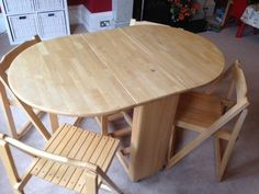 """wooden folding tables with chairs set Vintage 68"""" Wood"""