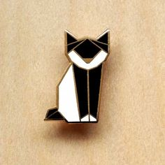 broche Chat origami noir