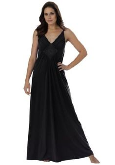 Amoureuse Plus Size Long Knit Gown With Medallion By Amoureuse Black,L Amoureuse. $29.99