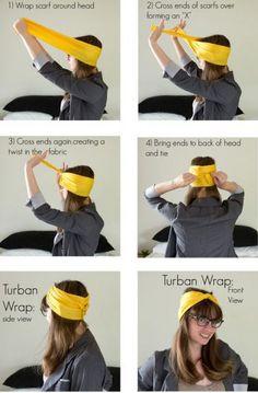 Turban Wrap DIY Projects / on imgfave - our virtual communal closet - Tie A Turban, Hair Turban, Curly Hair Styles, Natural Hair Styles, Carmen Miranda, Head Scarf Styles, Scarf Head, Bandana Hairstyles, Mode Vintage