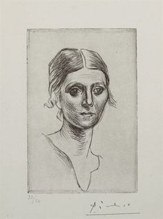 Pablo Picasso, Portrait d'Olga Picasso (Bloch Baer Paris, selected by Elio Gervasi. Picasso Prints, Pablo Picasso Drawings, Picasso Sketches, Kunst Picasso, Art Picasso, Picasso Paintings, Drawing Sketches, Art Drawings, Georges Braque