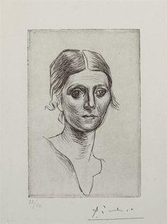 Pablo Picasso, Portrait d'Olga Picasso (Bloch 37; Baer 57)
