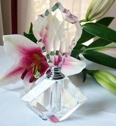 Vintage Cut Crystal Perfume Bottle Art Deco by PenelainAntiques