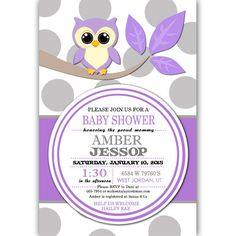 Owl Baby Shower Party Invitations Digital File or Printed Purple and Gray Grey FREE SHIPPING by PartiesR4Fun on Etsy https://www.etsy.com/listing/224097605/owl-baby-shower-party-invitations