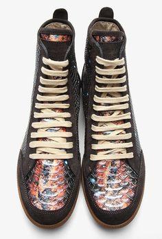 Maison Martin Margiela Galaxy Print Snakeskin and Suede Trim Sneakers Autumn-Winter 2013. @David Schneider Hype
