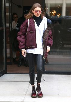 Gigi Hadid Photos - Model Gigi Hadid was leaves her apartment in New York City, New York on February She wore a red jacket, white shirt, and black leggings. - Gigi Hadid Steps Out In NYC During Fashion Week Dr. Martens, Doc Martens Stil, Dr Martens Stiefel, Botas Dr Martens, Red Doc Martens, Dr Martens Boots, Doc Martens Outfit, Gigi Hadid Outfits, Martens Style