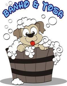 Imagem de um desenho de cão tomando banho