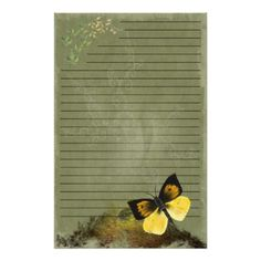Playful Butterfly- Digi Painted Stationary- lined Customized Stationery