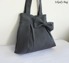 Dark Grey Pleated Hemp/Cotton Tote Bag
