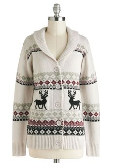 Take Caribou Cardigan in Doe - Mid-length, Red, Black, Buttons, Knitted, Casual, Long Sleeve, Winter, Cream, Holiday, International Designer