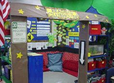 Reading Clubhouse and other library ideas- I wish I had the room in my class to do this!