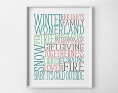Holiday Decor Winter Subway Art Christmas by LotusLeafCreations