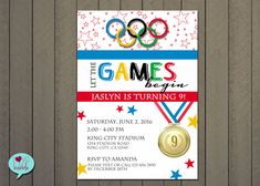Let the games begin with this Olympic-themed invitation! This is a 5 X 7 PRINTABLE DIGITAL FILE that you can email, send a text photo, print at home,