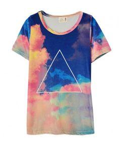 Triangle Print and Galaxy Tie Dye T-Shirt