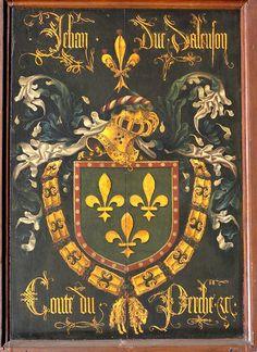 Golden Fleece Order Stall-plate of 40. Jean II, Duc d'Alençon (1409-1476), O.L.Vrouw kerk Brugge, by Pierre Coustain 1468.