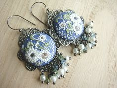 Blue Lagoon Filigree and Polymer Clay Embroidery by evagirl12, $65.00