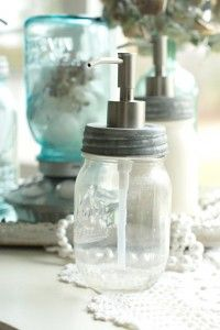 Clear Pint Mason Jar Soap Dispenser, Post Road Vintage on Etsy -look at cotton ball dispenser in back Mason Jar Soap Pump, Pint Mason Jars, Mason Jar Soap Dispenser, Soap Dispensers, Mason Jar Projects, Mason Jar Crafts, Decorated Jars, Diy Projects To Try, Home Decor Accessories