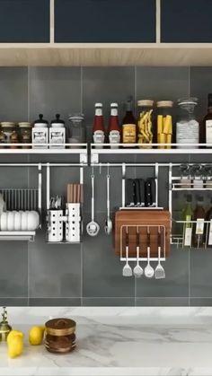 Kitchen Wall Storage, Wall Hanging Storage, Kitchen Pantry Design, Home Decor Kitchen, Interior Design Kitchen, Kitchen Shelf Organizer, Small Kitchen Decorating Ideas, Small Kitchen Organization, Kitchen Ideas