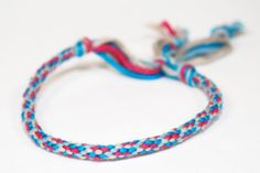 Kumihimo Fiber Bracelet Eco Friendly Bamboo Pink, Grey & Teal Jewelry on Etsy, $5.00 CAD