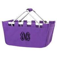 Personalized Purple Market Tote with Black Thread and Vine Monogram
