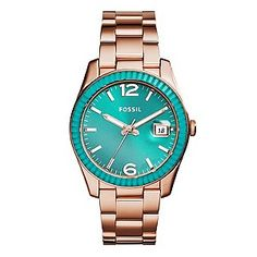 Add sporty, sophisticated style to your look with this Perfect Boyfriend ladies' watch from Fossil. Utilising the colour pop trend, this watch features a dragonfly turquoise bezel and sunray dial with analogue movement and date box complimented by rose gold tone hour indexes and accents, and is finished with a warm rose gold tone case and bracelet strap.